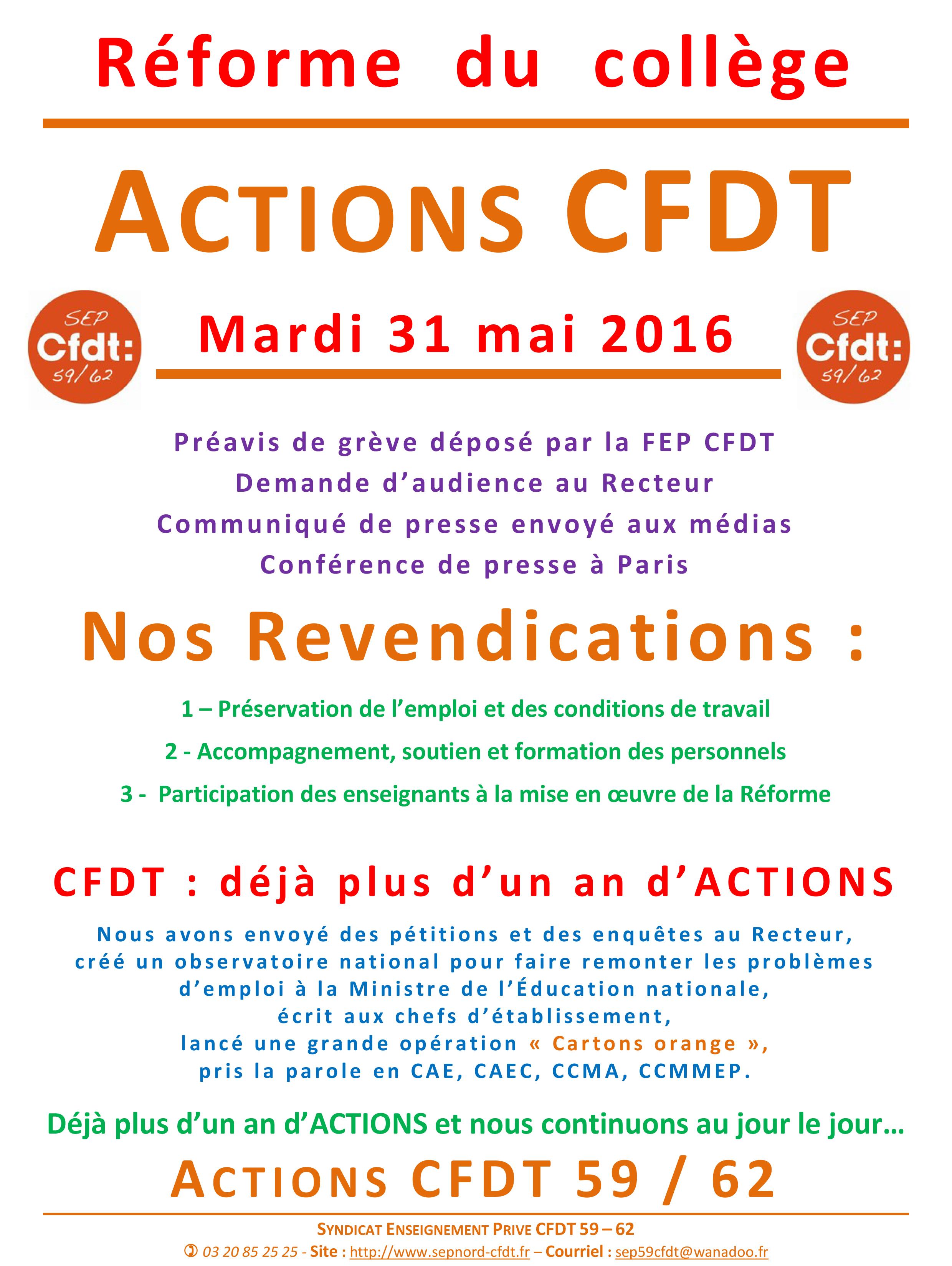 Réforme  du  collège actions 31 mai 2016